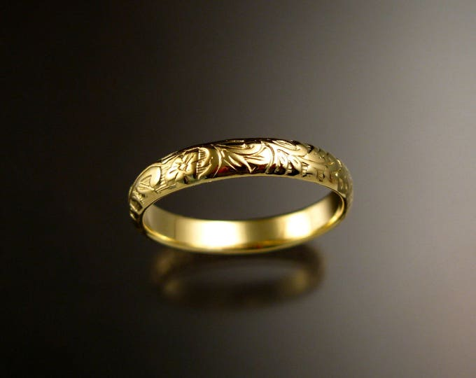 14k Green Gold 4mm Floral pattern Band wedding ring made to order in your size Victorian wedding band