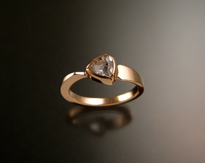White Topaz triangle ring 14k Rose Gold bezel set Stone Asymmetrical setting made to order in your Size