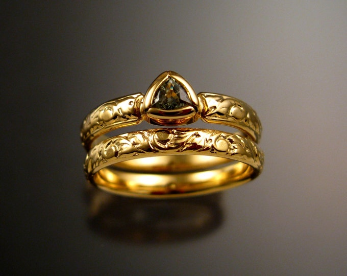 Green Sapphire Triangle Wedding set 14k Yellow Gold Victorian bezel set stone two ring set made to order in your size