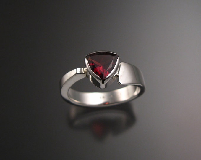 Garnet triangle ring Sterling Silver asymmetrical band made to order in your size