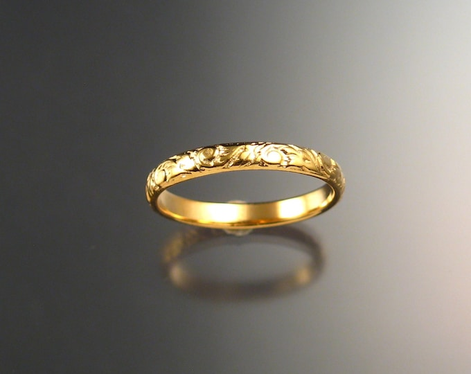 Yellow Gold wedding ring 2.7 mm Floral pattern Band 14k gold made to order in your size Victorian wedding band