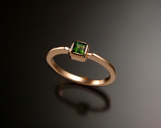 Green Tourmaline square stone stackable ring 14k Rose Gold handmade to order in your size