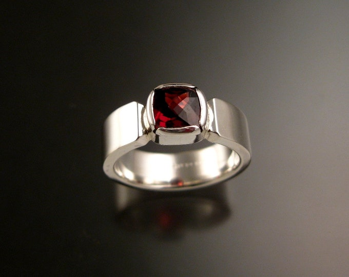 Garnet red 7mm Cushion cut stone Sterling Silver Bezel set ring with Sturdy Rectangular band made to order in your size