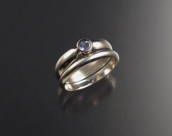 Tanzanite Wedding Set, Sterling Silver made to order in your size