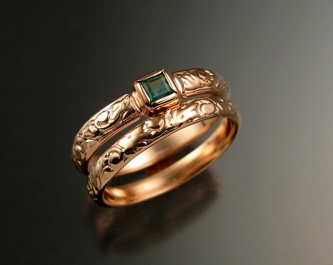 Emerald square  Wedding set 14k Rose Gold Victorian bezel set ring made to order in your size