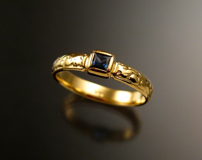 Sapphire Wedding ring 14k Yellow Gold Square cut Cornflower blue Natural Sapphire Victorian bezel set ring made to order in your size