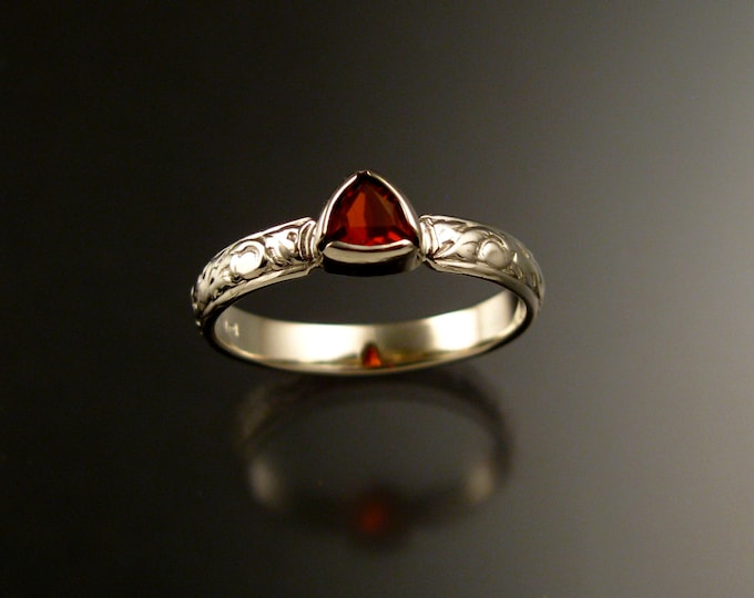 Fire Opal Triangle Wedding ring sterling silver Victorian bezel set stone engagement ring made to order in your size