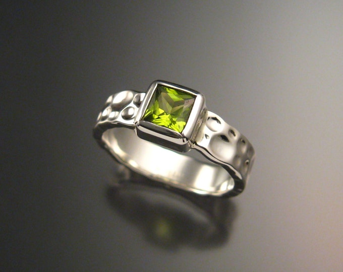 Peridot Moonscape Ring Sterling Silver square siccors cut stone made to order in Any Size