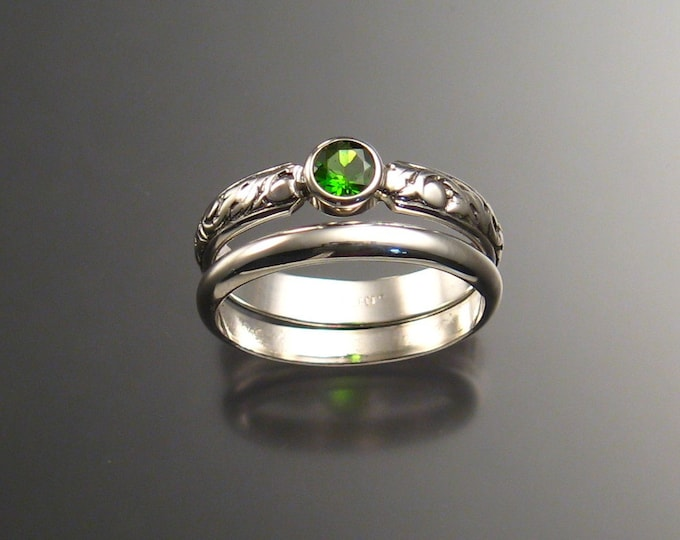 Chrome Diopside Wedding set Sterling Silver made to order in your size