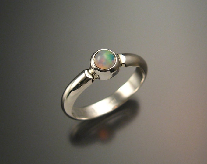 Opal Ring Sterling Bezel set Crystal Opal Silver Ring In Your Size