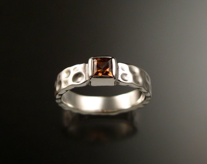 Honey Zircon 4mm square Moonscape ring handcrafted in 14k White Gold Chocolate Diamond substitute ring made to order in your size
