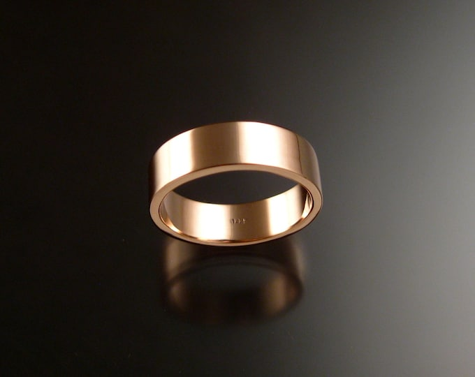 Rose Gold 1.5 mm x 6mm rectangular 14k comfort fit Bright finish Mans Wedding band Handmade in your size Grooms ring