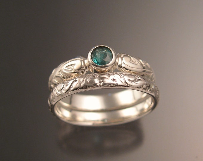 Colombian Emerald Natural 4mm round stone Wedding set Sterling silver Victorian bezel set ring made to order in your size