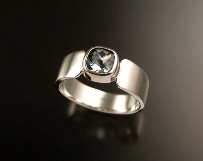 Aquamarine heavy cold forged band bezel set 7mm cushion cut stone Sterling silver ring made to order in your size