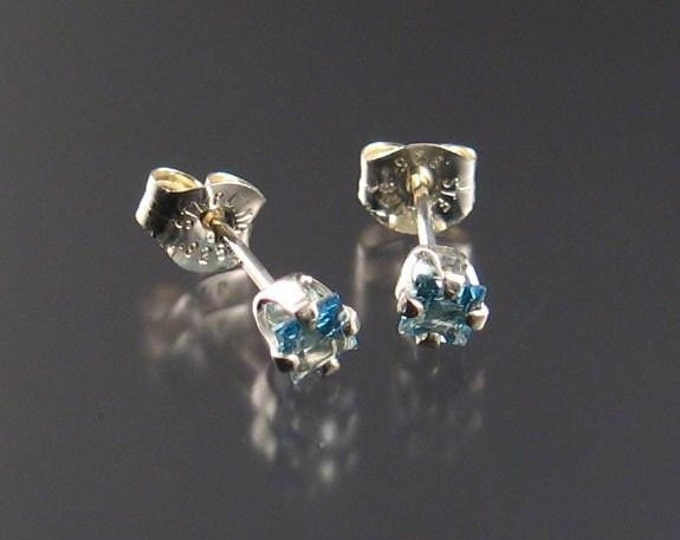 Aquamarine posts, Square-cut, Sterling