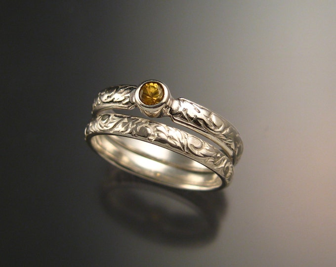 Golden Sapphire Wedding set sterling silver Victorian bezel set canary Diamond substitute ring made to order in your size