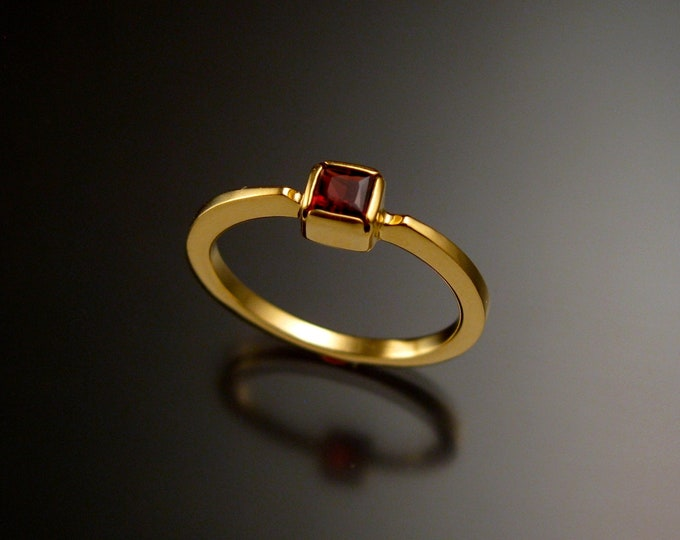 Garnet square stone stackable ring 14k Yellow Gold ring made to order in your size