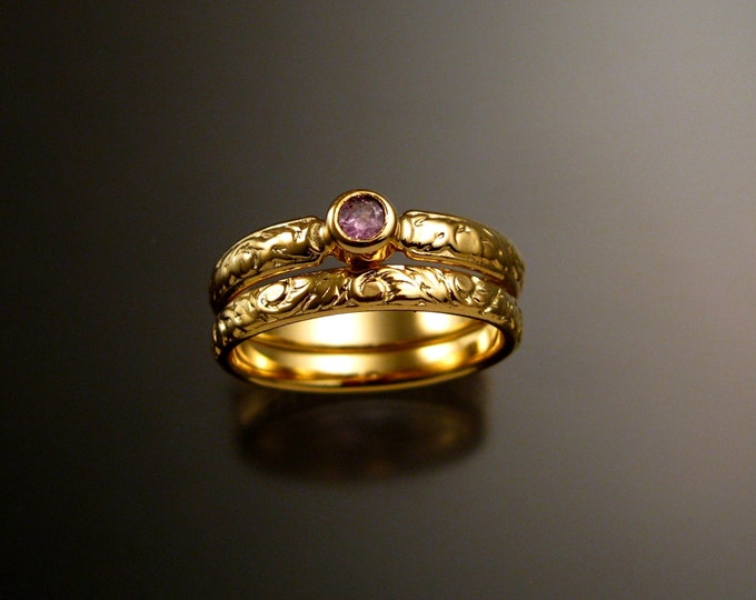 Pink Sapphire Wedding set 14k Yellow Gold Victorian bezel set Pink Diamond substitute ring made to order in your size