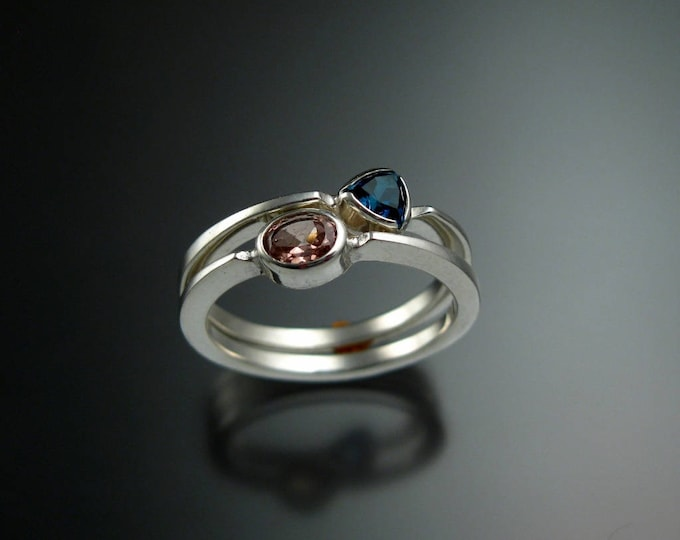 Stackable Mothers Birthstone ring set of two 14k white Gold premium birthstone stacking rings Made to order in your size