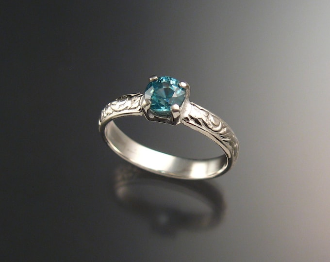 Blue Zircon Wedding ring 14k White Gold blue Diamond substitute ring made to order in your size