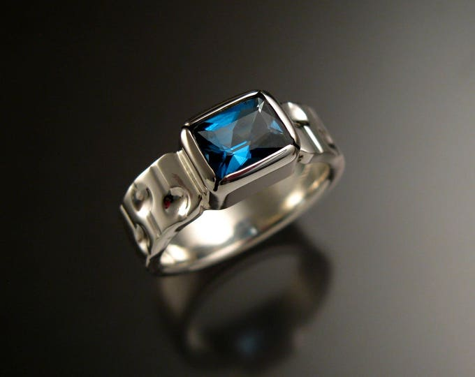 London Blue Topaz Ring Sterling silver 6 x 8 mm rectangle Sapphire substitute ring Made to Order in your size craters and bars band