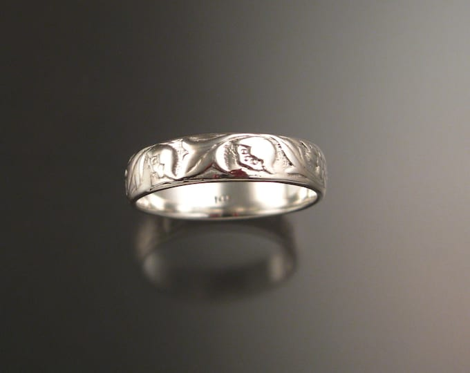 14k White Gold 4.7mm flower and vine pattern Band wedding ring made to order in your large size Victorian wedding band