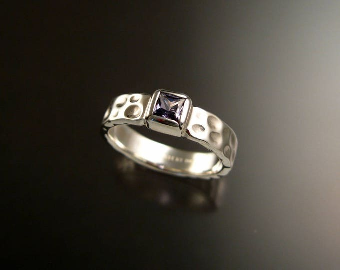 Sapphire square Moonscape ring handcrafted in Sterling Silver Violet colored untreated Sapphire size 7 3/4