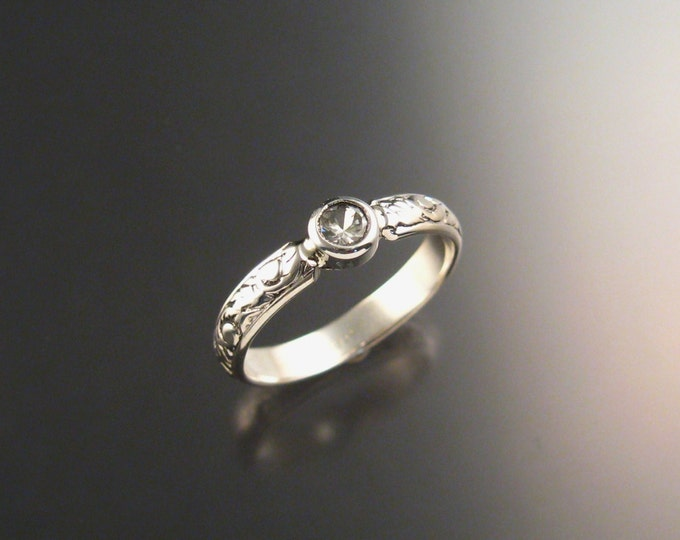 White Sapphire ring bezel set round stone Sterling silver made to order in your size