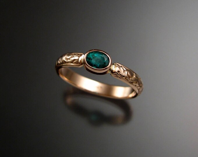 Emerald Wedding ring 14k rose Gold Victorian bezel set ring with 4x5 mm oval stone made to order in your size