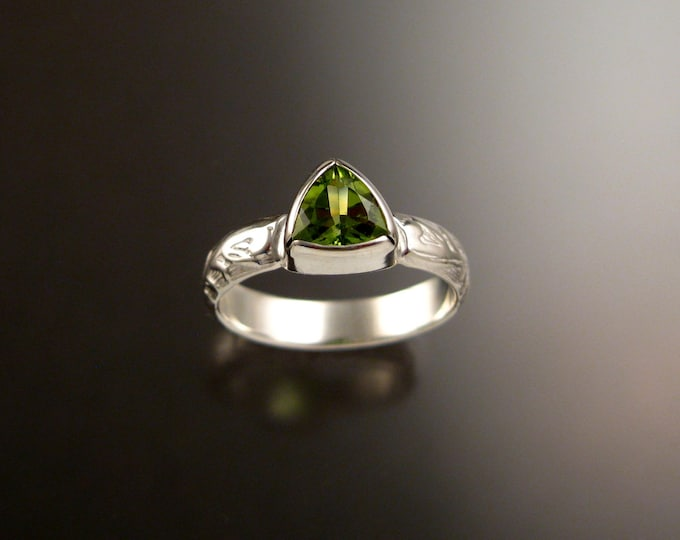 Peridot Triangle ring 14k White Gold Victorian bezel set stone ring made to order in your size
