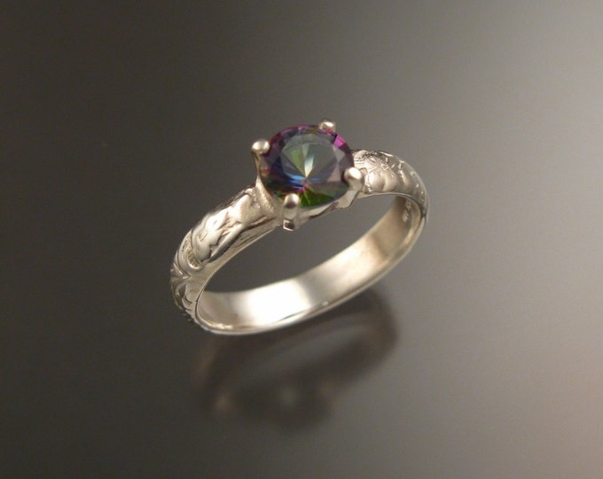 Mystic Topaz Wedding ring Sterling Silver ring made to order in your size