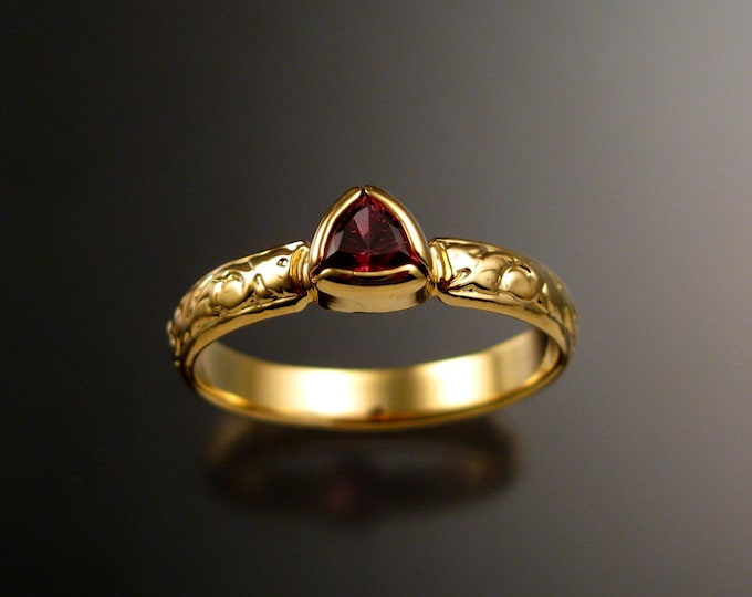 Pink Tourmaline trillion cut Victorian Engagement ring 14k Yellow Gold bezel set pink gold wedding ring