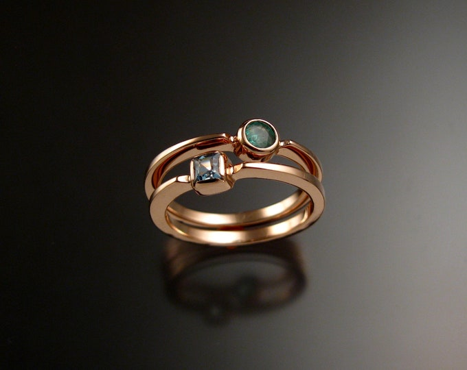Stackable Mothers Birthstone ring set of two 14k Rose Gold premium birthstone stacking rings Made to order in your size
