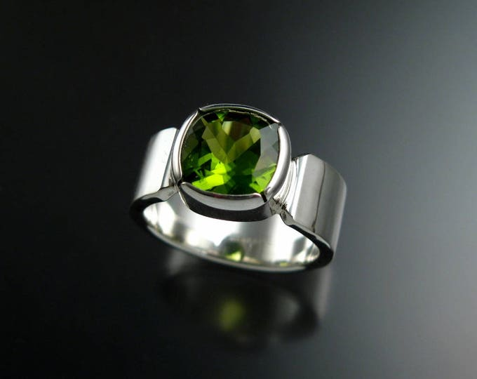 Natural Peridot ring set in Sterling Silver with wide sturdy band and bezel set Cushion-cut Stone made to order in your size