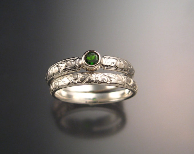 Chrome diopside Wedding set sterling silver emerald substitute Victorian bezel set two ring set made to order in your size