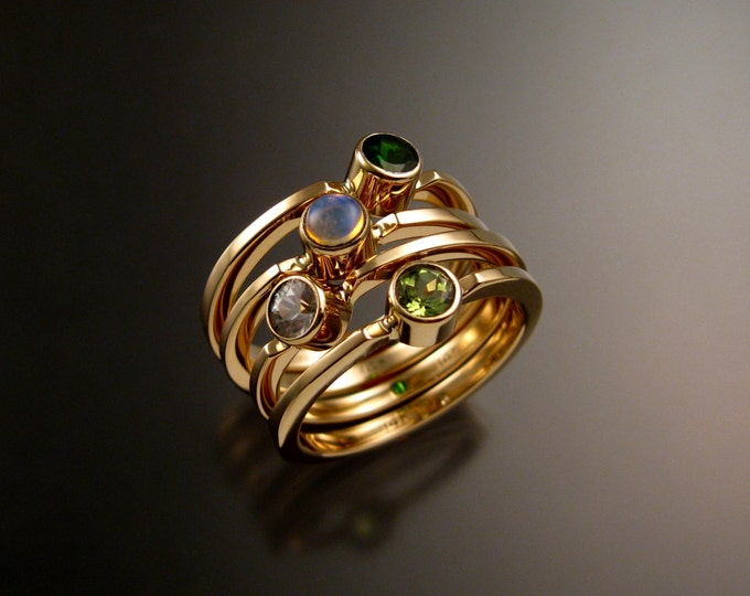 Stackable Mothers ring set of Four 14k Yellow Gold natural Birthstone rings Made to order in your size
