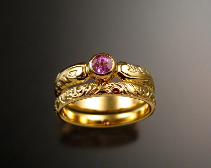 Pink Sapphire Wedding set 14k Yellow Gold Victorian floral pattern bezel set Pink Diamond substitute ring made to order in your size