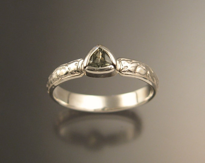 Green Sapphire Triangle Wedding ring 14k White Gold Victorian bezel set ring made to order in your size
