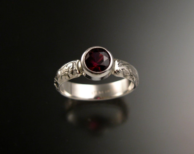 Garnet Raspberry red 6mm round Sterling Silver Bezel set stone ring with Victorian floral pattern band made to order in your size