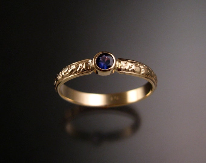 Second of two payments for Sapphire ring 14k Yellow Gold Victorian bezel set purple Sapphire ring for Robin only