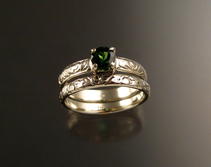 Green Tourmaline 14k White Gold Victorian floral pattern wedding ring set in white gold Emerald substitute engagement rings