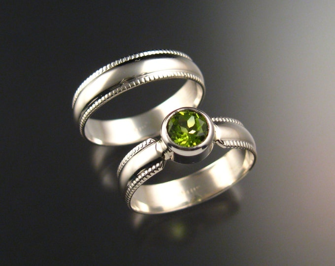 Peridot grooms wedding set two Sterling Silver rings  Made to order in your size