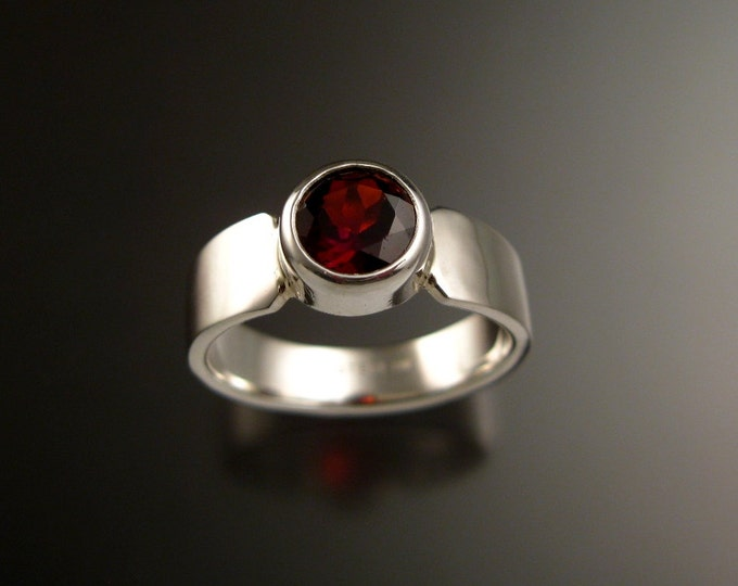 Garnet red 6.5mm round Sterling Silver Bezel set stone ring with cold forged tapered band size 7