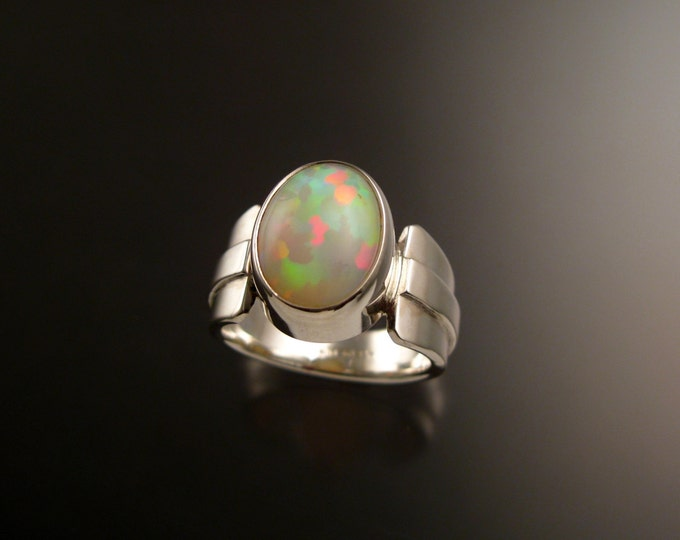 Opal Ring Sterling Silver Handmade Ethiopian Opal ring made to order in your size