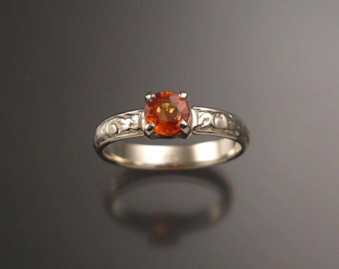Orange Sapphire Natural 5mm round Wedding engagement ring 14k White Gold Victorian Padparadscha ring made to order in your size