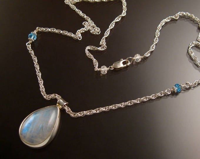 Rainbow Moonstone Pear shaped pendant on French rope Necklace handmade in Sterling Silver