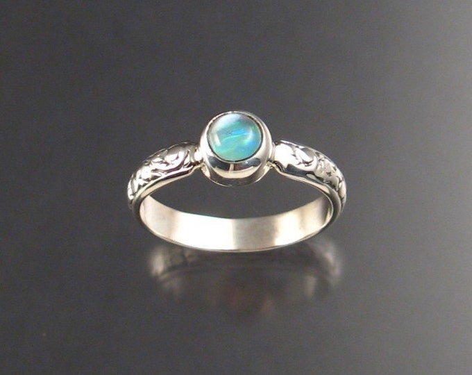 Moonstone and lab Opal Doublet ring, Sterling Silver made to order in your size