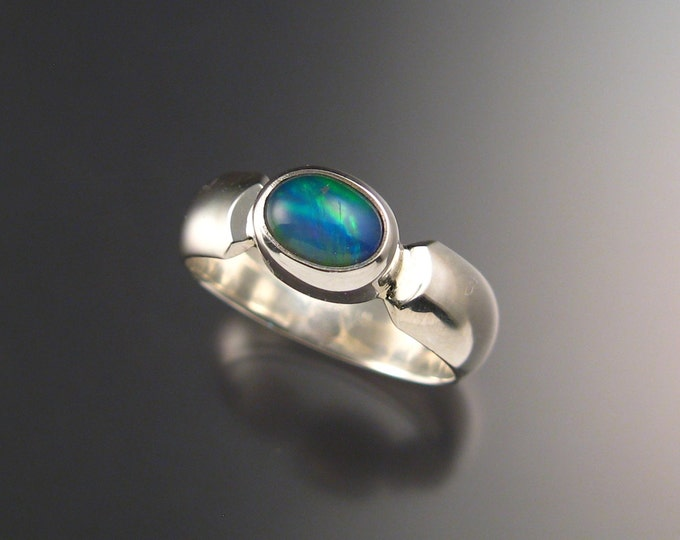 Opal Ring with wide low dome smooth band size 8