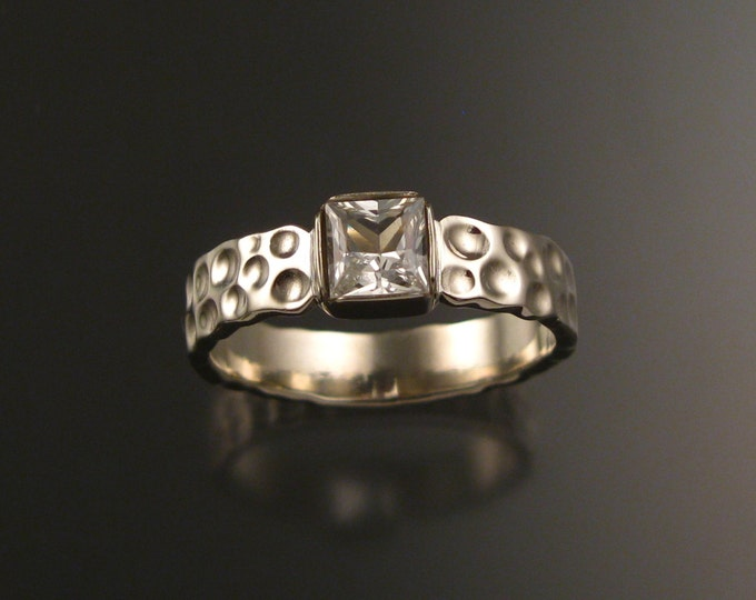 White Sapphire square 14k white gold Moonscape ring Diamond substitute ring handcrafted in your size