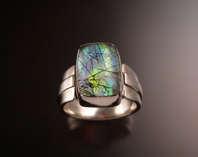 Tourmalated Quartz and lab Opal doublet man's ring Sterling Silver size 11 large stone handmade ring